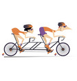 cartoon man and woman rides a tandem bike isolated vector image