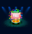 casino free spins slots neon icons golden slot vector image vector image