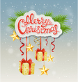Christmas background with greeting inscription vector image