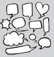 collection hand drawn set speech bubbles vector image vector image