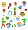 Cute green cartoon zombie character set part of vector image vector image