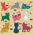 doodle set cats cute poses vector image vector image