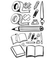doodles set for different stationeries vector image