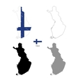 Finland country black silhouette and with flag on vector image