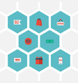 Flat icons pouch buy now big sale and other vector image