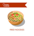 fried noodles with delicous prawns and salmon vector image vector image