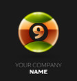 golden number nine logo symbol in the circle vector image vector image