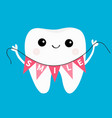 healthy tooth icon holding bunting flag smile vector image vector image