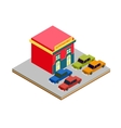 Isometric supermarket cars parking vector image