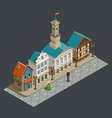 medieval architecture isometric composition vector image vector image