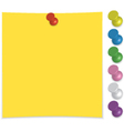Paper note with push pin set vector image