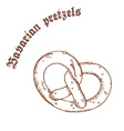 pencil hand drawn of pretzel with salt with label vector image vector image