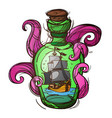 pirate frigate in a green glass bottle sketch of vector image vector image