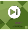 Play button web icon on a flat geometric abstract vector image
