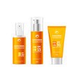 realistic detailed 3d sunscreen set vector image vector image