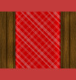 red tablecloth is on a wooden table vector image vector image