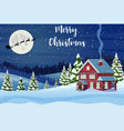 santa claus flies over the house in the snow vector image