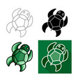 sea turtle icon flat long shadow design vector image vector image