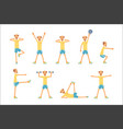 senior man character exercising set healthy vector image vector image