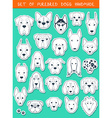 Set of 24 stickers different breeds dogs handmade vector image