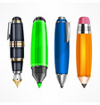 set of pens and pencils vector image