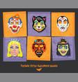 set vintage style halloween masks vector image vector image