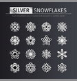 silver snowflakes icons set vector image vector image