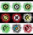 snake symbol fire flames texture design stamp vector image vector image