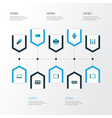 technology icons colored set with tablet printer vector image