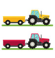 tractor with trailer flat design industrial vector image