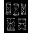 Vintage hourglasses chalk sketches set vector image