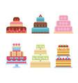 wedding cake pie sweets dessert bakery flat simple vector image vector image
