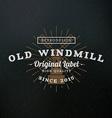 Windmill Vintage Retro Design Elements for vector image vector image