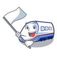 with flag miniature shinkansen train in cartoon vector image