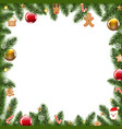 xmas border with fur tree vector image vector image