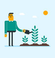 young caucasian white gardener watering plant vector image