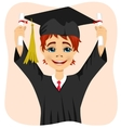 young student boy holding two diplomas vector image