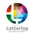 lettering l rainbow alphabet icon vector image