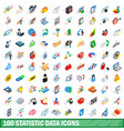100 statistic data icons set isometric 3d style vector image