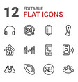 12 support icons vector image vector image