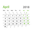2018 funny original grid april creative calendar vector image vector image