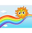A sky with a sun and a rainbow vector image vector image