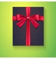 Black box red ribbon bow vector image vector image