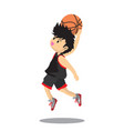 boy air slam basketball character design cartoon vector image vector image