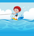 boy playing water ski in the ocean vector image