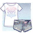 denim shorts with unfinished edges and t-shirt vector image vector image