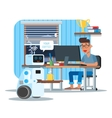 Domestic personal assistance robot brings coffee vector image
