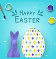 easter poster template with 3d realistic easter vector image
