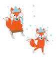 fox on skates and sled logo vector image vector image