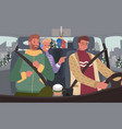 friends sitting in auto winter road trip vector image vector image